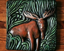 Moose Hand Carved Animal Art Tile, Plaque, Wall Hanging Brown Moose Dark Green Grass Hand Painted Rustic Home/Cottage Decor