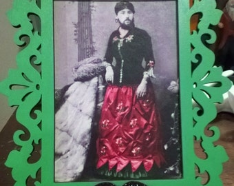 Bearded Lady Circus Recolored 4x6 Vintage Photo Green Painted Frame