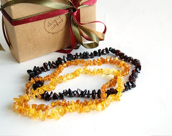 Amber teething necklace Set of THREE - Baby necklace - nursing jewelry - perfect gift - natural analgesic - baltic amber necklace - gold