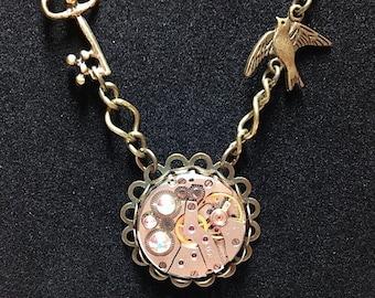 Steampunk Watch Movement Pendant Necklace, Steampunk Jewelry