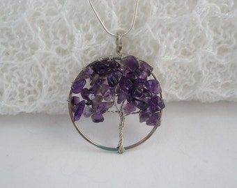 Amethyst Tree of Life Pendant, Silver Wire Wrapped Tree Pendant, Purple Tree of Life Necklace, Amethyst Pendant