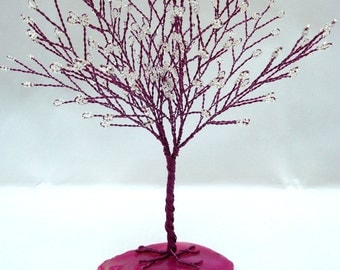 Magenta Tree of Life, Magenta and White Tree Wedding Cake Topper, Wire Wrapped Tree Centerpiece, White Seed Bead Tree