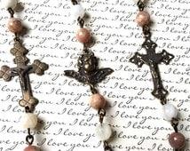Faceted Sunstone and Moonstone Rosary Bracelet -  Rosary Bracelet