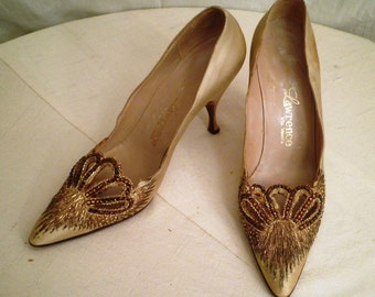 Vintage 1950's Shoes  Copper Jeweled Shoes 1950's Vintage Beaded Stiletto Shoes Prong-set Rhinestones