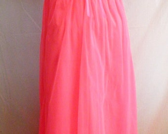 1960's Nightgown Hot Pink and White Nylon Vintage Lingerie Boudoir Old Hollywood S 36 bust