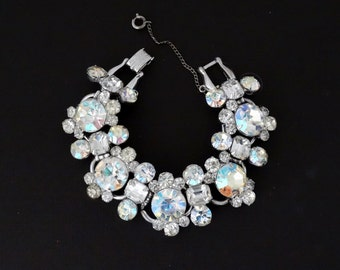 OMG Gorgeous Vintage D&E Juliana Huge Headlight Aurora Borealis Rhinestone 5 Link Bracelet - Book Piece
