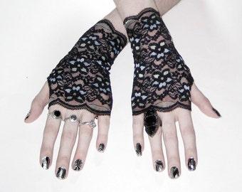 black lace white Arm Warmers Wrist cuffs - Bauhaus -  flower gothic goth belly dancing nior victorian lolita feminine nior emo vampire gypsy