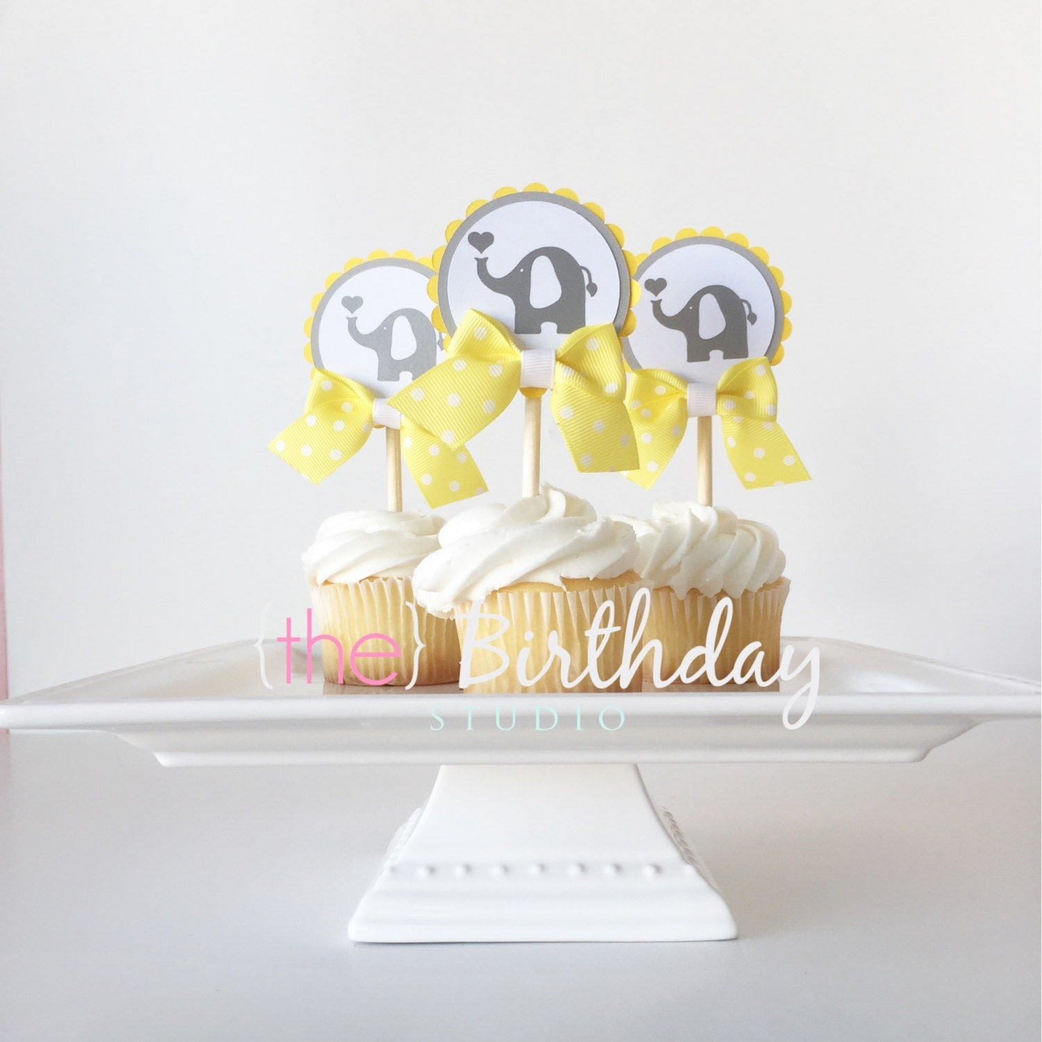 elephant baby shower cupcake toppers yellow by thebirthdaystudio
