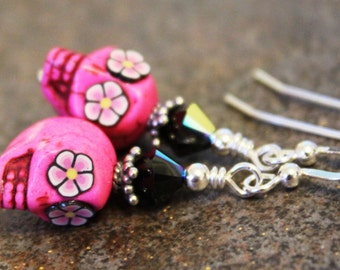 Sugar Skull Earrings, Sterling Silver, Dark Pink with Black and Pink Flower Eyes, Day of the Dead, Halloween, Jewelery, Unique, Quality