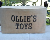 20% OFF! Personalized Toys Burlap Storage Bin - spacious burlap basket for children's toys storage