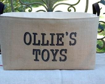 20% OFF! Personalized Toys Burlap Storage Bin - spacious burlap basket for children's toys storage