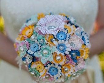 Bespoke Carnival Paper Flower & Button Alternative Bouquet