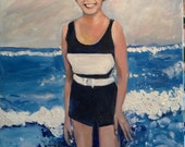 Annie's Mom Beautiful Mother Oil Portrait Oil Painting of Mom at the Beach by Marlene Kurland  20 x 16