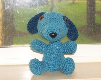 Crochet Puppy  - Country Blue (finished doll)