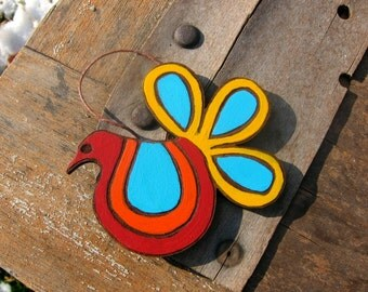 Hand Painted Psychedelic Bird Ornament One