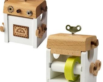 Robot Washi Tape Holder, Wood Case, Tape Dispenser