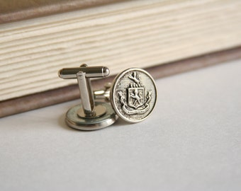 SALE Coat of Arms Cufflinks Family Crest Cufflinks - made with vintage metal buttons