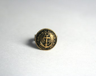 Anchor Ring Brass Nautical Ring - made with an antique button with an anchor on it