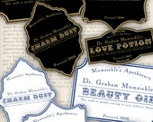 Beauty Apothecary Potion Bottle Labels Tags hobby crafting printables digital graphics instant download digital collage sheet - VD0447