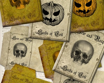 Halloween Seed Packets Printable instant download digital collage sheet VDENHA0861