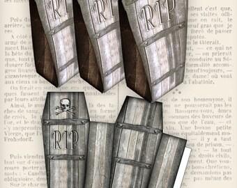 Coffin Favor Bag halloween trick or treat printable paper craft crafting scrapbooking instant download digital collage sheet - VDFBHA0947