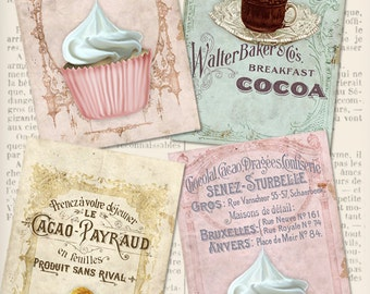 Vintage Patisserie Cards 6 x 4 inch printable images instant download digital collage sheet VDCAVI0961
