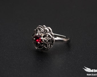Noble Vampire Ring - Round Red Crystal Ring- Victorian Gothic Jewelry
