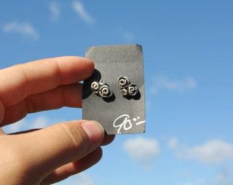 silver rosebud earrings