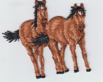 Two Horses Standing Iron On Embroidered Applique
