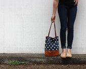 navy polka dot and caramel leather tote bag // polka dot tote // leather tote by rouge and whimsy