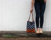 navy polka dot and caramel leather tote bag // polka dot tote // leather tote by rouge and whimsy