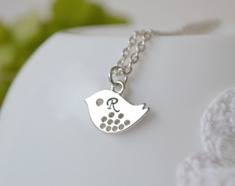 Mother's day gift Personalized Initial Necklace Initial bird Necklace Monogram necklace Beadwork Bib Eco Friendly Lariat Pendant Personalize