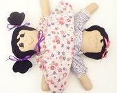 handmade rag doll Ethnic doll cloth topsy turvy awake asleep latino rag doll,  UP620