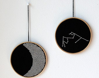 "Set of 2 - Zodiac constellation and Moon - Hand embroidery in wooden hoop 5"" - Minimal - Black and white"