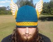 Valkyrie Helmet Beanie with Braided Detail Custom Viking Helmet Beanie with Wings Choose Your Colors
