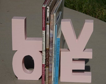 LOVE Wooden Bookends (wood bookends, pink, pale pink, light pink, baby girl, nursery decor, love bookends, bookends, christmas gift)