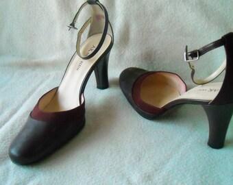 Women's Vintage Heels, Anne Klein, Burgundy, Vintage Pumps, High Heels, Size 8.5, Maroon Shoes