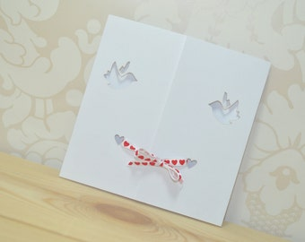 Dove Gatefold Laser Cut Wedding Invitation Tied With Ribbon - Pack of 25