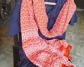 Tangilo woodblock design cotton shawl wrap throw Indian design square long scarf sarong custom item childrens scarves yardage