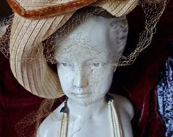 Vintage Ladies Layer Stitched and Velvet Trim Hat c 1940's - 50s So Downton Abbey