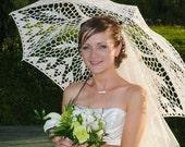 WHITE or IVORY Parasol- Wedding Lace Umbrella- Victorian umbrella- Edwardian umbrella- Summer Wedding- Photo Props- Bridal Shower Gift