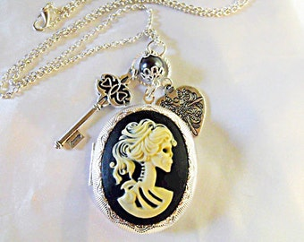 Silver Locket Necklace,   Large Gothic Lolita Cameo Locket With Pearl And Charms Womens Gift  Handmade