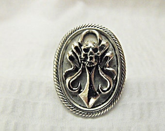 Silver Ring,  Gothic Skull and Dagger Adjustable Ring Mens or Womens Gift Handmde