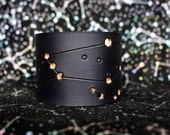 Mens Black Orion Leather constellation Cuff