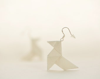 White origami earrings - sterling silver hooks and silk