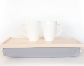 Breakfasts in bed serving tray, Laptop Lap Desk, Pillow Tray - Pastel Peach with Grey cotton Fabric