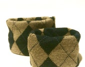 Large Wool Blend Argyle K...