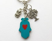 Hamsa Key Chain, Rear View Mirror Car Charm - Hand Painted Heart Design with Owl and Tree of Life