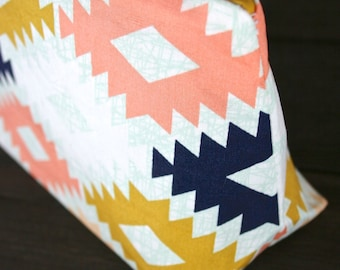 Mojave Agave Southwestern Aztec Graphic Cosmetic Bag in Coral (Handmade in the USA)