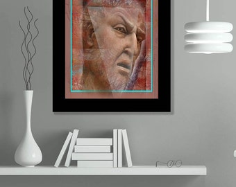 Pluto, face portrait, Abstract mixed media collage painting, limited edition print giclee, Arfsten art original modern contemporary decor